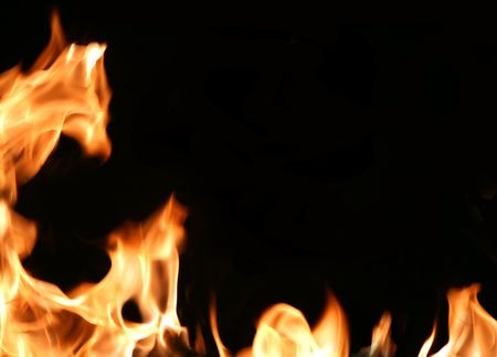 Dramatic flames around an empty black space for text. Stock Photo - 802805