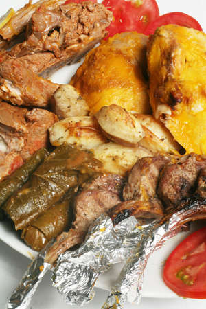 A gourmet platter of Arabian style baked lamb and chicken, stuffed vine leaves, tiny roasted potatoes and grilled lamb chops, garnished with sliced tomato and lemon. Stock Photo - 802963
