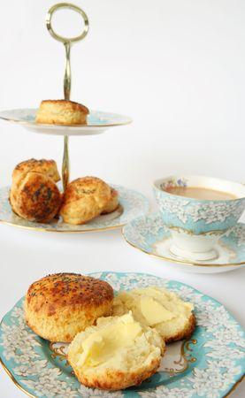 savoury: Savoury scones and tea with elegant china. A very English tea-time.