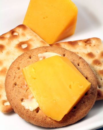 buttered: A buttered digestive biscuit and cream crackers with cheddar cheese.