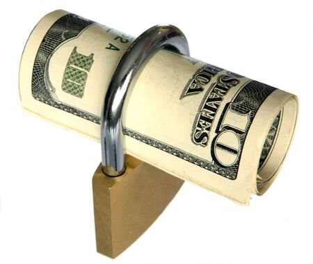 locked up: US currency locked up in a padlock Stock Photo