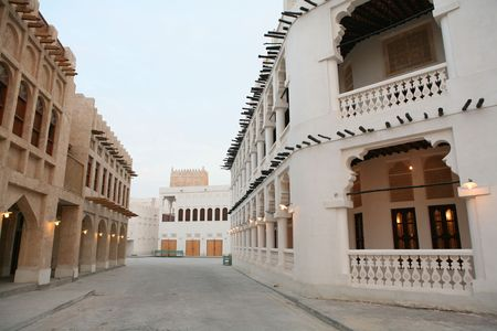 souq: A view of part of the recently (20067) rebuilt traditional souq in Doha, Qatar, at sundown