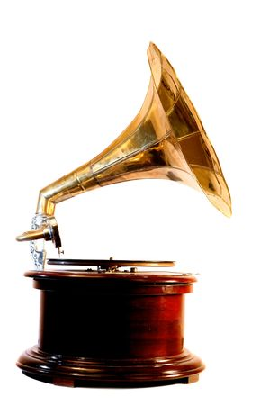 An old-fashioned wind-up gramophone