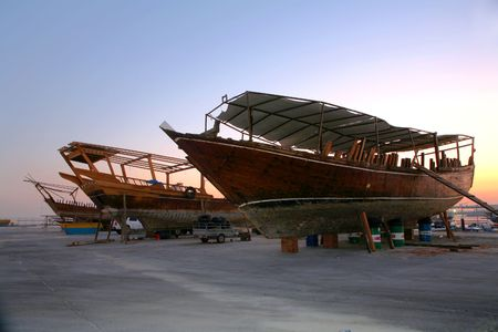 The dhow repair yard in Doha  Stock Photo