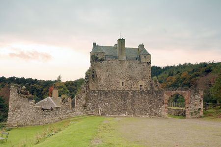 king james: Historic Neidpath Castle, Peebles, Scotland, in autumn. Dating from the 14th Century with 17th Century conversion to a tower house. Once hosted Mary, Queen of Scots, and the Privy Council of King James I & VI; damaged by Cromwell. Detailed history at http
