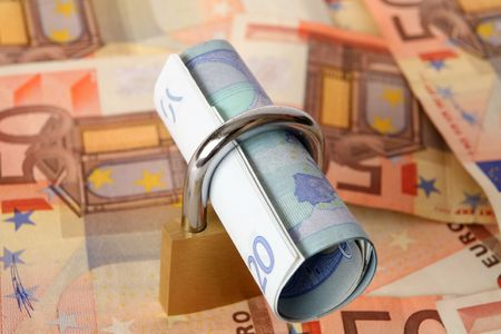 20 euro: A roll of 20 euro notes  Stock Photo