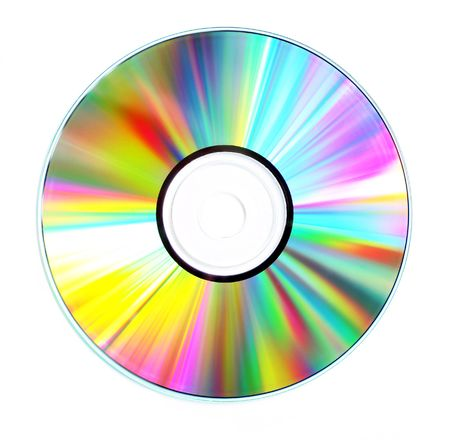 diffraction: Diffraction patterns on the surface of a compact disc. Stock Photo