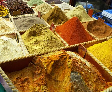 Spices on sale by weight at a shop in the Old Souq in Doha, Qatar, Arabia Stock Photo
