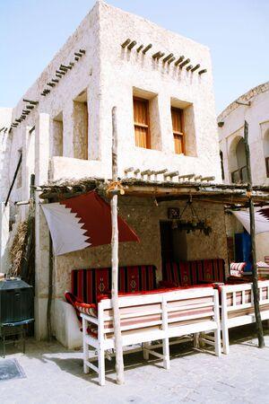 souq: A traditional Arab coffee shop in the Old Souq, Doha, Qatar.