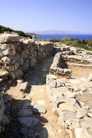 prefecture: A lane through the centre of the ancient (c 3,500 year old) Minoan town of Gournia, in Lasithi Prefecture of Crete.