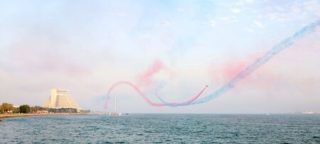 royal air force: The Royal Air Force Red Arrows display team in action over Doha, Qatar, November 18, 2007.