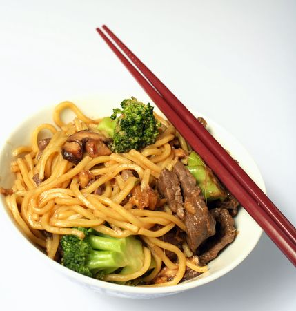 chow: A bowl of beef chow mein with chopsticks