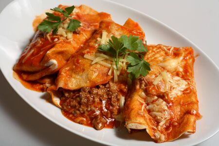 TexanMexican-style enchiladas, tortillas filled with spicy beef topped with grated cheese and tomato-chili salsa. Stock Photo