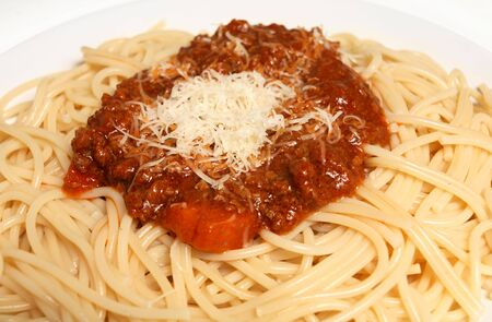 bolognaise: Close-up view of a plate of spaghetti bolognaise, and Italian favourite