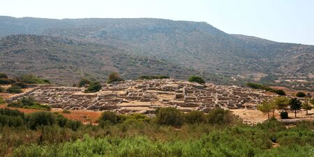 minoan: The Minoan town of Gournia, near Aghios Nikolaos, Crete, which is the best-preserved New Palace-era (c. 3,500-year-old) Minoan town so far discovered. Stock Photo