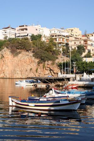 A view across the lake at the heart of Aghios Nikolaos, in Crete, Greece. Stock Photo - 2444674