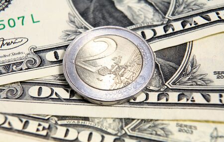 Two euros on US$3  The European Union euro currency has made huge gains against the US dollar since 2001 and by the beginning of 2008 was approaching $1.50, when a two-euro coin would be worth three greenbacks. photo