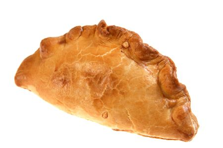 pasty: A traditional British Cornish pasty pie, isolated on white. The distinctively shaped pies can have various fillings, but a thick meat and potato mixture is usual.