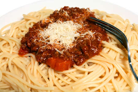 bolognaise: A plate of spaghetti with bolognaise (or bolognese) sauce topped with grated parmesan cheese.