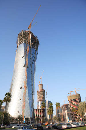 The Bidda Tower (left) and other high-rise buildings under construction in Doha, Qatar, during the boom of Spring 2008 photo