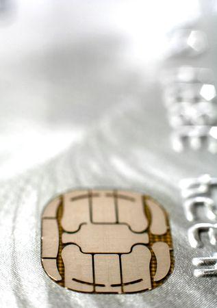 tomar prestado: El chip en una tarjeta de cr�dito platino, la extrema close-up  Foto de archivo