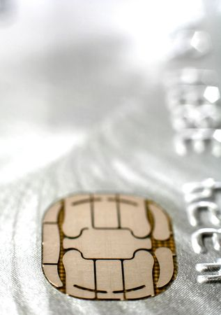 chip and pin: The chip on a platinum credit card, extreme close-up