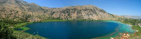 A composite panorama of Lake Kournas, in Crete, Greece. The sea at Georgioupoulis is visible on the left.