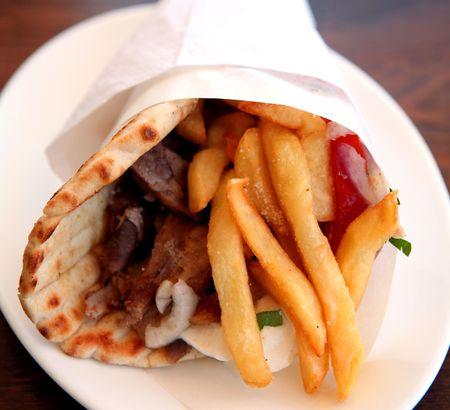pita: A souvlaki gyros pita kebab, Greeces staple fast food.