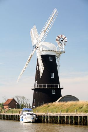 restored: The Burney Arms waterpump, on the Norfolk Broads in England. Most of the windmills on the Broads were used to pump the marshes.