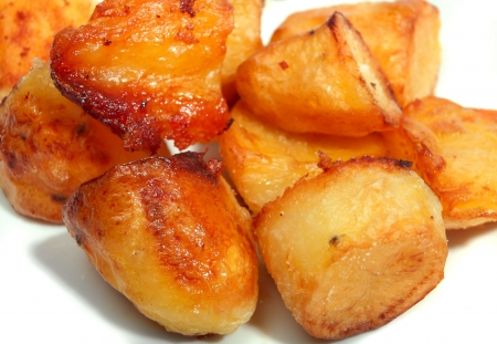 roast potatoes: Traditional British roast potatoes, golden brown and delicious