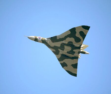 LOWESTOFT, SUFFOLK - July 2008: The worlds only airworthy Vulcan nuclear bomber, in action at the Lowestoft Air Show Stock Photo