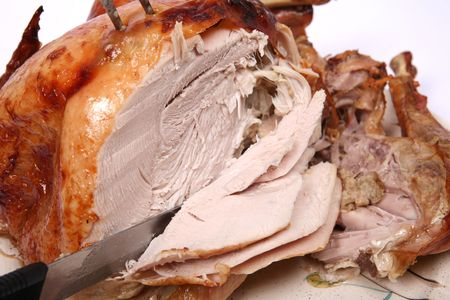removed: Carving the festive turkey in the recommended way, with the leg removed.