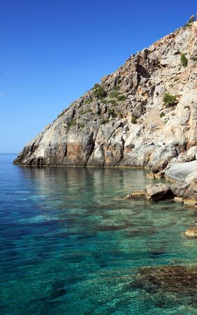 A view of the brilliant sea and bright blue sky at Sougia on the south coast of Crete, Greece.