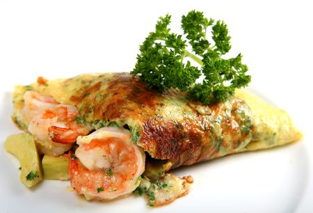 guacamole: A California prawn omlette, made using fresh parsley, prawns, and guacamole (avacardo),