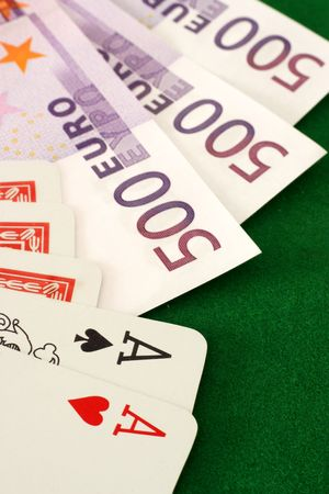 high stakes: A poker hand with an ace pair and 1,500 euros in cash - something to gamble with, perhaps.