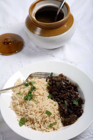 Cuban black-beans and rice photo