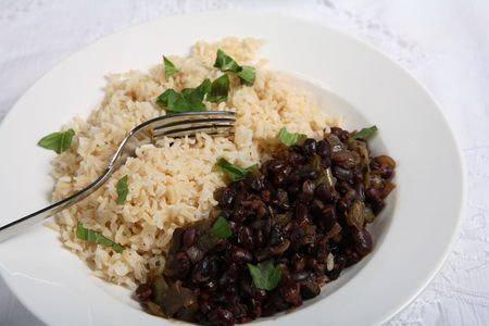 black rice: Cuban black-beans and rice, a very traditional dish known as