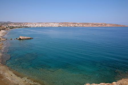 prefecture: The view of Sitia, capital of Lasithi Prefecture, Crete, Greece, from across its crystal clear bay,
