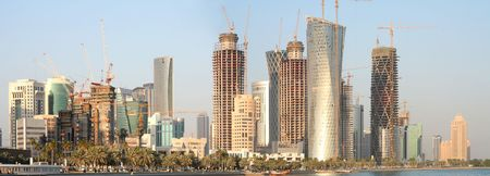 merged: The New District of Doha under construction during the Arabian Gulf building boom, December 30, 2008. Panorama from merged images.