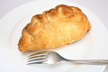 pasty: Cornish pasty and fork