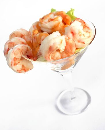 A prawn cocktail in a glass, with salad and thousand island dressing Stock Photo - 4210045