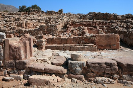 minoan: The ruins of the 3,000-year-old Minoan palace at Zakros, Crete. Stock Photo