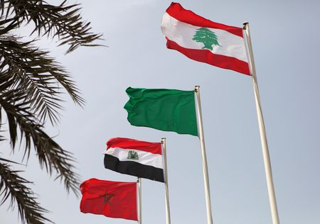 libyan: The flags of (from the front) Lebanon, Libya, Egypt and Morocco flying during the Arab League summit in Doha, Qatar, March 2009
