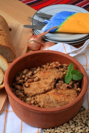 A rustic terracotta serving bowl of traditional Greek pork and black-eyed beans Stock Photo - 5247306