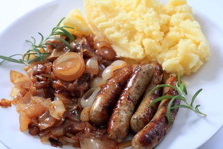 british cuisine: Traditional British sausage and mashed potatoes Stock Photo