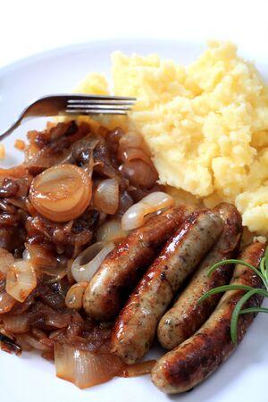 Traditional British sausage and mashed potatoes Stock Photo