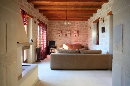 mediterranean houses: The interior of a luxury villa in Prines village, Crete, Greece, used for summer holiday rentals