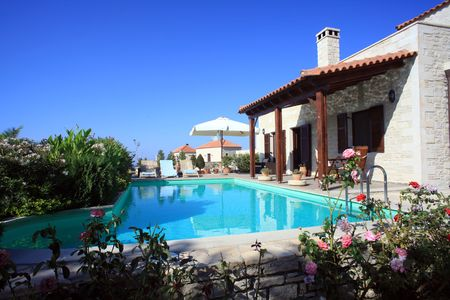 mediterranean houses: A holiday villa that is used for rentals in Prines, Crete, Greece (property released) Stock Photo