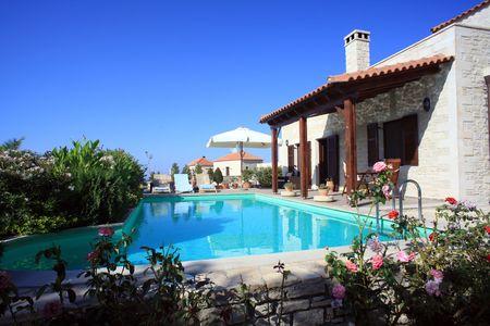 Een vakantie villa die wordt gebruikt voor verhuur in Prines, Kreta, Griekenland (eigendom uitgebracht) Stockfoto