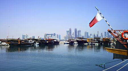 and tradition: A view of the dhow harbour in Doha, Qatar, October 9, 2009, with the high rise area under development in the background